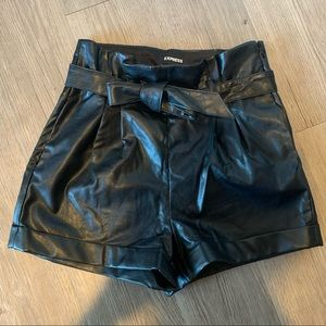 Express High waisted Vegan Leather Paperbag Shorts